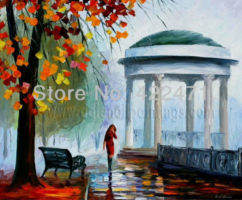 Lady in Park Oil Painting Modern Impressionism Palette Knife Oil Painting on Canvas Framed KP133 24&quot;X30&quot;(China (Mainland))