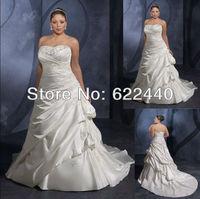 Custom-made Popular Applique Satin A-line Plus Size Wedding Dresses Free Shipping Wholesale/Retail