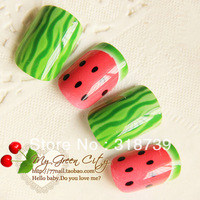 Free shipping, Watermelon pattern nail art false nail patch cute false nail art