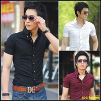 free shipping Brief male slim shirt short-sleeve shirt Men shirt short-sleeve men's clothing