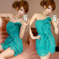 Tight slim hip baimuer dinner laciness dress sexy tube top oblique spaghetti strap chiffon one-piece dress solid color green