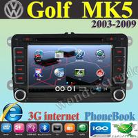 "7"" Car DVD Player Radio autoradio GPS navigation Car Stereo For volkswagen Golf Mk5 2003-2009 + 3G internet + Free  map"