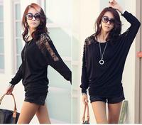 39229 2012 autumn batwing sleeve lace patchwork soft cotton long-sleeve T-shirt - black