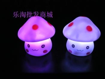 Mushroom lilliputian lamp colorful small night light led gift toy free shipping 6pcs/lot