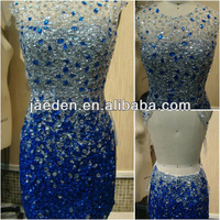 GP021 Hot Sell New Arrival Sheath Sexy Backless Crystal Blue Color Real Pictures Short Prom Cocktail Dresses 2014