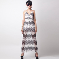 Fashion strap V-neck black and white stripe beach  hight long dress mopping the floor D13613