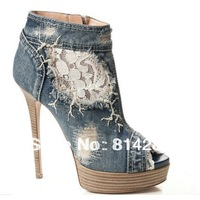 2015 Jeans fashion new design peep toe  High heels plateform pumps high heel shoes for women
