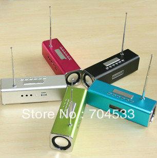 Free DHL New 60pcs TT2 Portable mini speaker support U-Disk/TF card/Computer/MP3 Micro SD speaker with FM