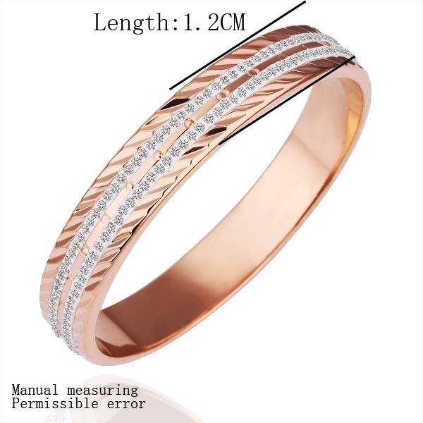Wholesale Free Shipping Fashion Jewelry 18K Rose Gold White Diamond Three Grain Whole Round Gold Bangle Love Bracelet Cuff GZ012(China (Mainland))