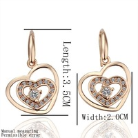 Wholesale Free Shipping Fashion Jewelry 18K Rose Gold, Two Hearts White Diamond Hoops Drop Hooks Studs Earrings GE041