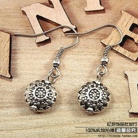 Accessories national trend classic vintage tibetan miao silver handmade all-match drop earring earrings