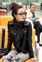 Bride short design turn-down collar zipper punk motorcycle water washed leather PU clothing outerwear female 358