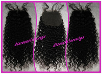 "Top Selling Brazilian Virgin Human Hair 16"" #1 Kinky Curl Lace Top Closure (4""x4"")"