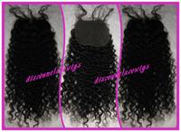 "Top Selling Brazilian Virgin Human Hair 16"" #1 Kinky Curl Lace Top Closure (4""x4"")"