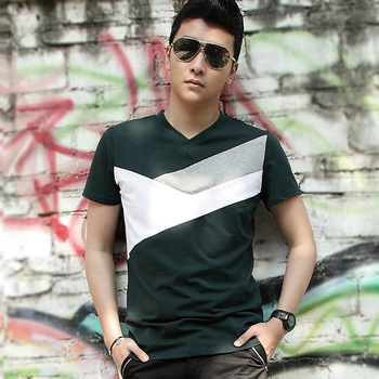 Men's clothing short-sleeve T-shirt male slim V-neck 2013 summer clothes patchwork personalized t