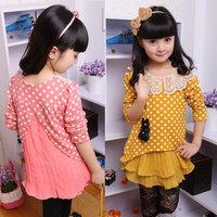 Children's clothing dress spring summer 2014 child wave point dot kids girls Chiffon long sleeve dress