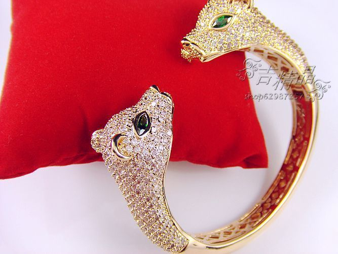 High-end imported line first accessories - double-headed green big eyes beauty leopard top picks Shi Mi rhinestone bracelet(China (Mainland))
