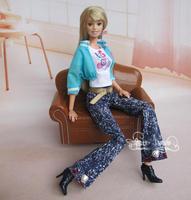White T-shirt Blue Coat Pants Boot Belt For Barbie Doll Girl