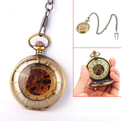 Novelty Brass Tone Vintage Men Mechanical Pocket Watch Hand-winding Pendant .NO1(China (Mainland))
