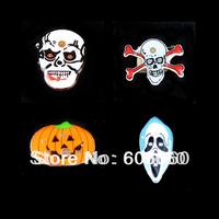 Free shipping Led badge brooch halloween supplies skull brooch flash badge Skeleton flash badge pin bar brooch