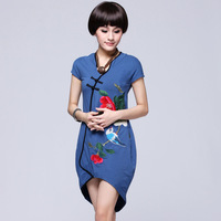 2013 spring women's national embroidery trend one-piece dress short-sleeve slanting lapel chinese style vintage embroidered
