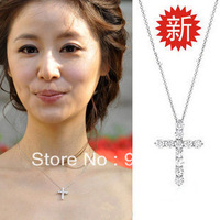925 pure silver platinum rhinestone cross necklace pure silver chain necklace day gift