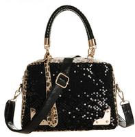 Leopard Sequins Zipper PU leather fashion lady handbag women shoulder bag Portable female Messenger bags free shipping BBG0249