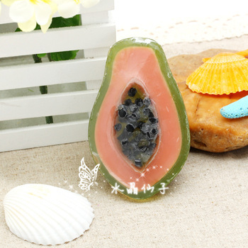 Crystal handmade essential oil soap cartoon fruit soap child gift soap papaya soap 4a103