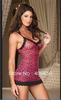 New Hot red leopard Sexy Lingerie dress+g string babydoll sleepwear Nightwear Dress Women,Uniform ,Kimono Costume