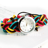 Newest Arrival Woman Wristwatch Colorful Leather String Band Watch Antique Quartz  Beautiful Watch Free Shipping
