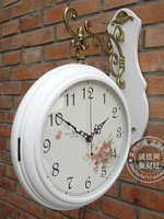 Fashion antique rustic solid wood double faced clock wooden double faced clocks movement