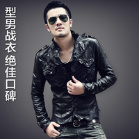 Fashion men slim fashion sheepskin men's clothing genuine leather clothing leather jacket l06