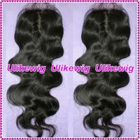 "Top Selling--Ulike Wigs AAAAA Human Hair 14"" #1 Body Wave Peruvian  Virgin Hair Top Closure (4""x4"")"