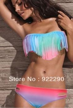 Free shipping 2013 Fashion Summer Women Hot Sexy Tassel Bandeau Fringe Strapless Swimsuit TOP Padded Colourful Bikini , T100