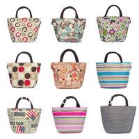 Free shipping Small canvas women's handbag lunch bag portable small lunch box stripe handbag oxford fabric women's handbag