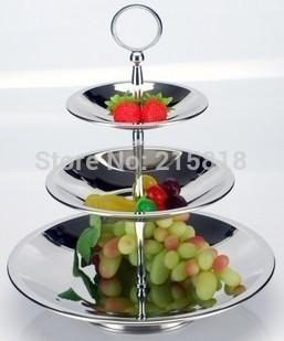 Stainless steel fruit plate multi-layer three fashion candy dish mug-up personality