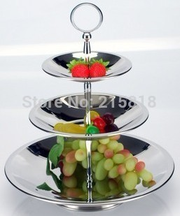 Stainless steel fruit plate multi-layer three fruit fashion candy dish mug-up personality fruit plate