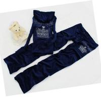 2014 Autumn and winter JC velvet embroidery rhinestones fashion slim casual sweatshirt set hoodies set