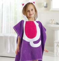 Free shipping Infant cartoon style hooded bathrobe , baby bath towel,100% cotton bathrobes shower bath towel