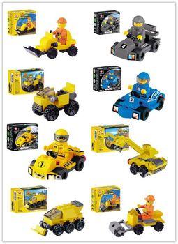 Free Shipping 2013  Kart,Fire Engine,Engineering Action 3D Building Blocks Toy Set, Animal Enlighten Brick Toys,Kids Gift