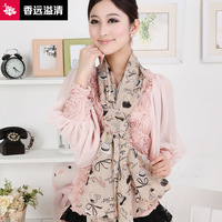 2013 spring and summer silk scarf female long design velvet chiffon scarf cape silk scarf 3