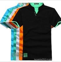 The new 2014  cotton multi-color short sleeve plain t-shirts, men T-shirt /5 size, free shipping