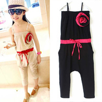 Retail Children Clothing for Summer Wear Girls Fashion Jumpsuit Solid Color Pants Trousers, Free Shipping GP010