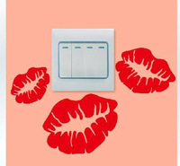 Personalized wall stickers switch stickers socket paste sticker red lips lovers waterproof