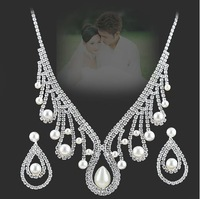 Free Shipping 2013 New NEOGLORY jewelry  silver pearl wedding Necklace made with SWA ELEMENTS crystal xgb8305