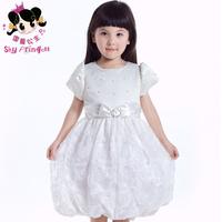 Princess white child formal dress princess dress tulle dress one-piece dress sleeve costume