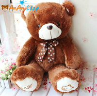 FREE SHIPPING DARK BROWN CUTE STUFFED ANIMAL DOLL 25'' PLUSH TEDDY BEAR WITH BOW TIE SOFT TOY BIRTHDAY CHRISTMAS GIFT FOR KIDS
