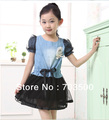 2013 new baby high quality teenage girl summer  patchwork jean  dress . princess demin dresses, free shipping
