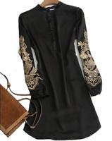 2013 New Fashion Runway Elegant Embroidery long Shirt long-sleeve Plus size S-4XL