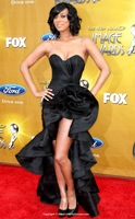 New Design Black Short In Front Long In Back A-line Floor-length Taffeta NAACP Image Awards Prom Dresses(SCD428)